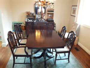 Dark Wood Dining Room Table + China Cabinet