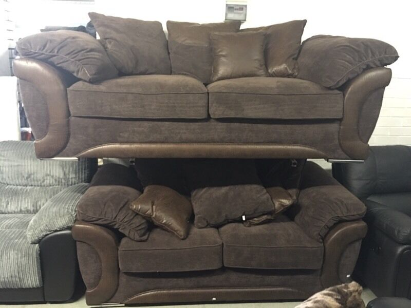 ex littlewoods maze 3 and 2 seater sofa brown fabric scatter back three plus two