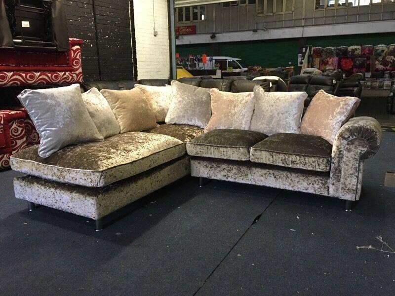 littlewoods laurence scarpa left hand crushed velvet corner chaise sofa gold silver