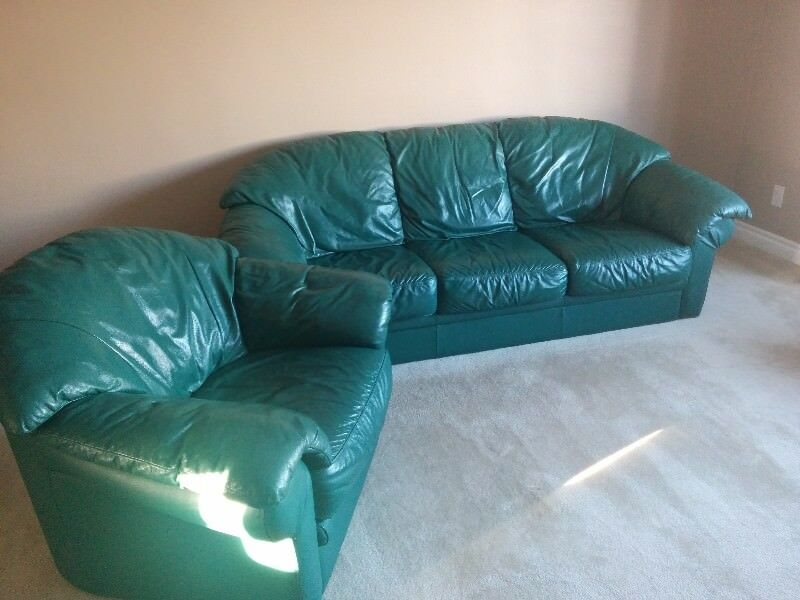 Leather Forest Green Couch And Chair | Couches U0026 Futons | Edmonton | Kijiji
