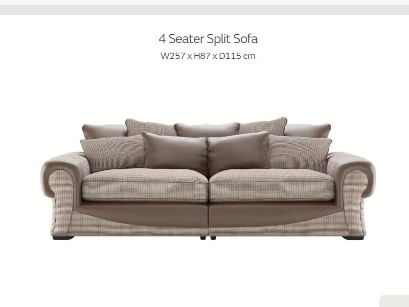 Sofology Molby 4 Seater Sofa, Large Brown Used Fabric Sofa