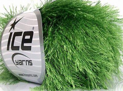 (Green Eyelash Yarn #50639 Ice - New Color! 50 Gram Green Long Eyelash)