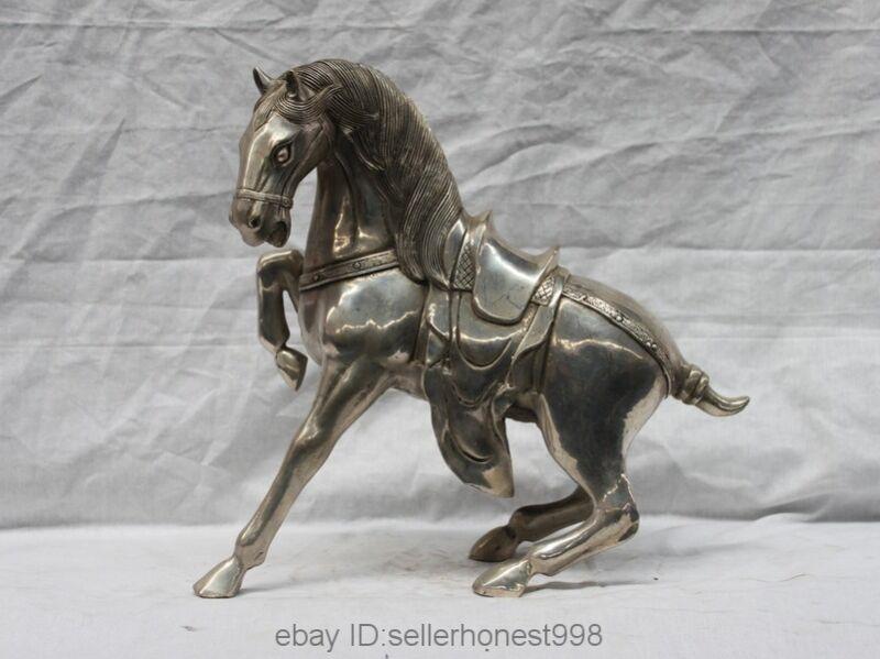 Chinese Folk Feng Shui White Copper Silver Lucky Wealth War Horse Sculpture