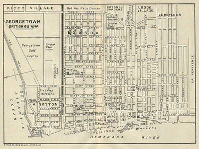 GEORGETOWN. Vintage town map. British Guiana (Guyana) /Guyana. Caribbean 1931