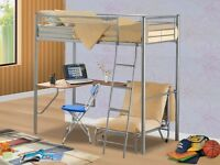 Bunk bed (mattress included) with futon chair and desk.