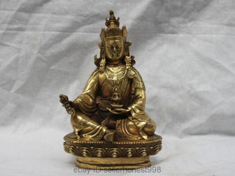 Tibet Buddhist Brass Copper Padmasambhava Bodhisattva Master Buddha Statue
