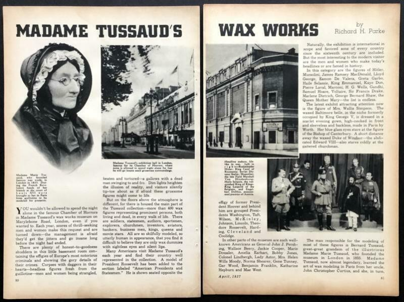 Madame Tussauds Wax Works 1937 vintage pictorial London museum