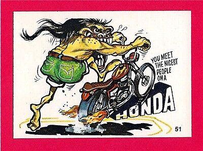 Vintage Donruss Odder Odd Rod #51 Meet Nicest People On A Honda Card Sticker Old