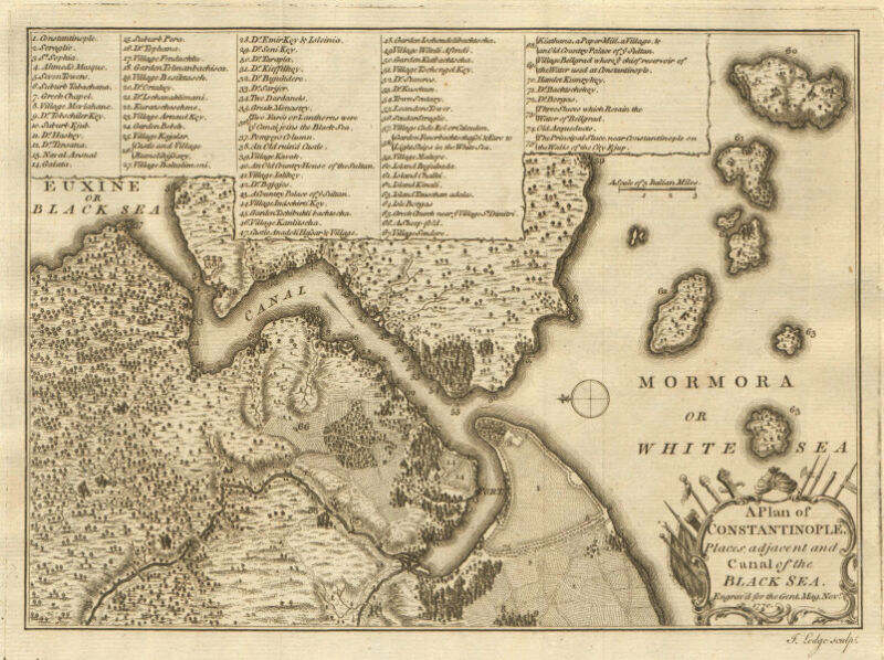Constantinople… & canal of the Black Sea. Istanbul & Bosphorus. LODGE 1770 map