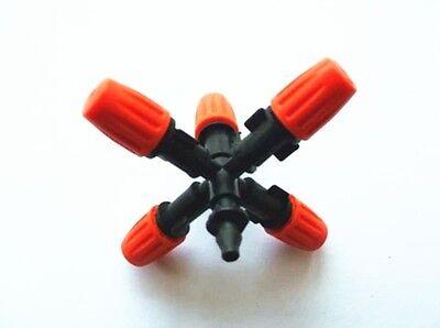 1set 5 Noozle Misting Plastic Atomizing Sprinkler Flow Adjustable For 14 Hose