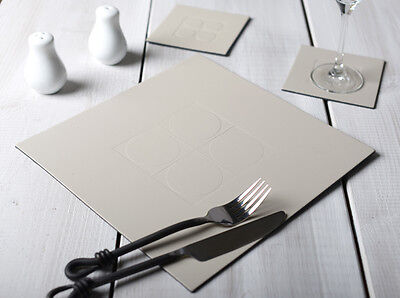 Set of 6 STONE GREY Square Embossed Leatherboard Placemats & 6 Coasters