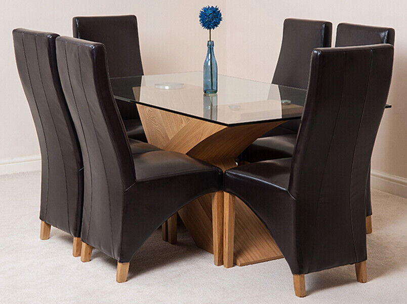 Valencia Oak Small Glass Dining Table With 4 Or 6 Lola Leather Chairs Ebay
