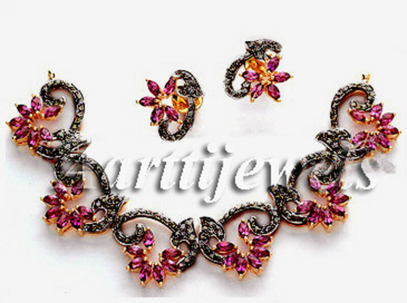 Victorian 2.40ct Rose Cut Diamond Gemstones Necklace Set Christmas Holidays