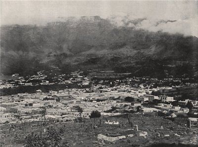 Table Mountain In Cape Town (CAPE TOWN. General view. Table Mountain wreathed in vapour. South Africa 1895)