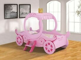 Girls Pink Princess Carriage Single Bed