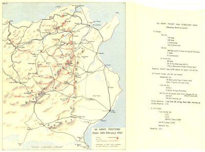 Battle of Sidi Bou Zid. Tunisia. 1st Army 14 February 1943. World War 2 1966 map