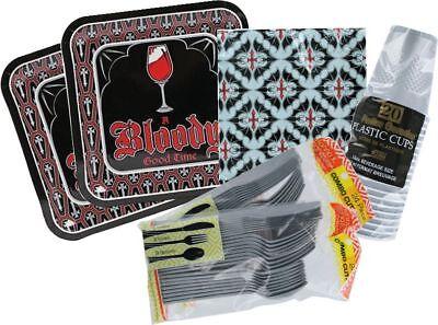 Halloween Vampire Party Paper Plates, Napkins, Cups, Utensils for 16 People - Halloween Plates Cups Napkins