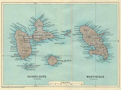 ANTILLES FRANÇAISES. Martinique Guadeloupe. French West Indies vintage map 1931