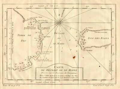 'Detroit de Le Maire' Strait, Tierra del Fuega, Argentina. BELLIN 1758 old map