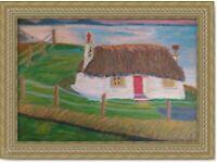 Original Hand Made oil pastel Art painting Cottage decoration