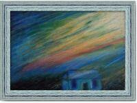 Original Hand Made oil pastel Art painting Dusk handcrafting