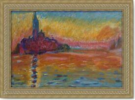 Monet Hand Painted Oil Pastel Art Painting Landscape Sea vintage San