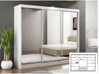 cash on delivery-Lux 3 Door Sliding Full Mirror Wardrobe in White and Black Color