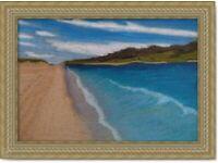 Original Hand Made oil pastel Art painting Scottish Sea decoration