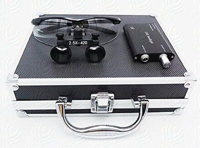 Dental Surgical 2.5x420mm Binocular Loupes Led Headlight Aluminum Box Black