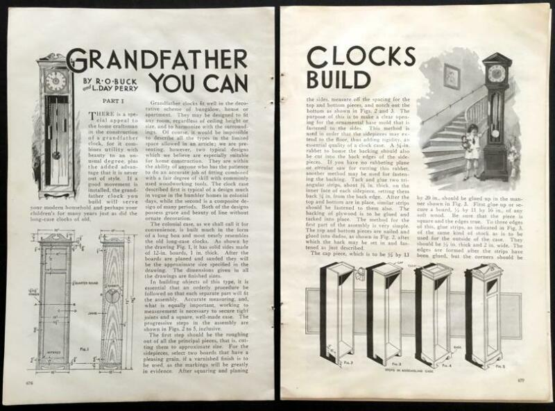 Grandfather Clock 1930 How-To build PLANS 2 Designs Colonial Early American