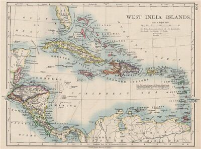 WEST INDIA ISLANDS. Caribbean Lucayas Caribbee Cuba. JOHNSTON 1897 old map