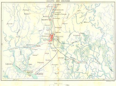 INDIA. Kolkata & area c1885 old antique vintage map plan chart