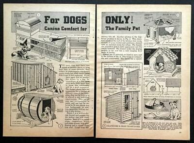 6 Dog House PLANS 1940 HowTo Build Large-Small-Shadebed-Barrel-Wood-Concrete