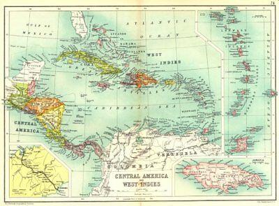 CARIBBEAN.C. America West Indies;Panama canal;Jamaica;Leeward Windward 1909 map