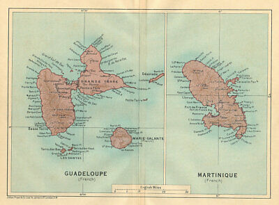 ANTILLES FRANÇAISES. Martinique Guadeloupe. French West Indies vintage map 1935