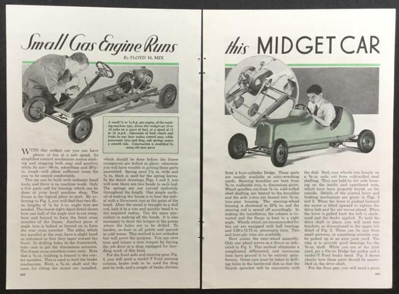 Midget Car 1935 How-To build PLANS Maytag Briggs Washing Machine Motor powered