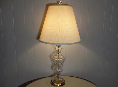 BIG Frederick Cooper etched crystal & brass lamp 36