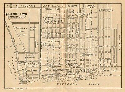 GEORGETOWN. Vintage town map. British Guiana (Guyana) /Guyana. Caribbean 1935
