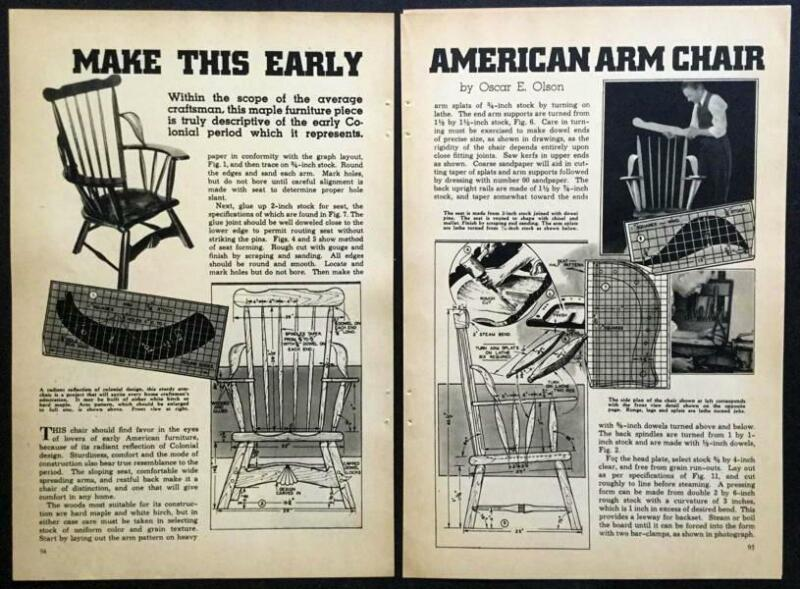 Early American Arm Chair 1937 How-To build PLANS Colonial