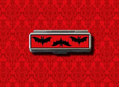 BATS FLYING RED HALLOWEEN LIP BALM GUM COTTON SWAB MAKEUP LIPSTICK CASE HOLDER - Halloween Lips Makeup