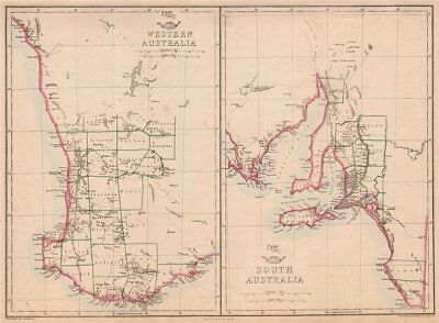 WESTERN & SOUTH AUSTRALIA. Land Divisions. Perth Adelaide. WELLER 1862 old map