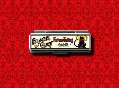 BLACK CAT FORTUNE TELLING GAME GUM COTTON SWAB MAKEUP LIPSTICK CASE HOLDER