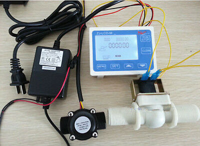 New 1 Water Flow Control Lcd Meter Flow Sensor Solenoid Valve Power Adapter