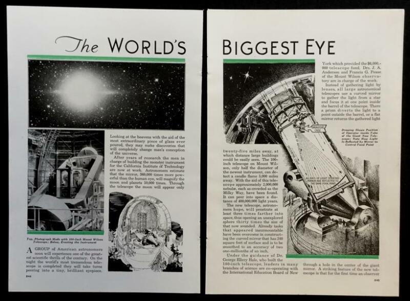 "1934 Mount Palomar Telescope Observatory ""The World"