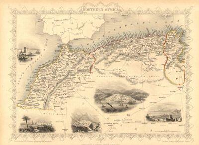 NORTHERN AFRICA. Morocco Tunisia Algeria. Caravan routes.TALLIS/RAPKIN 1851 map