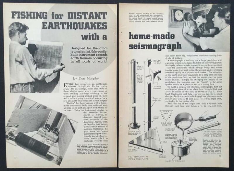Seismograph Earthquake Detector 1938 HowTo Build PLANS