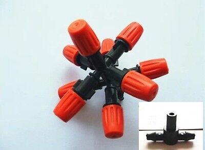 1set 9 Noozle Misting Plastic Atomizing Sprinkler Flow Adjustable 14 Hose Tee