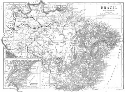 BRAZIL. Brazil map 1910 old antique vintage plan chart
