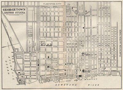 GEORGETOWN. Vintage town map. British Guiana (Guyana) /Guyana. Caribbean 1927