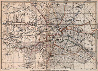 BERLIN STRAßENBAHNNETZ. Tramway network city centre/innere stadt plan 1886 map